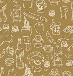 Kitchen stuff seamless pattern vector