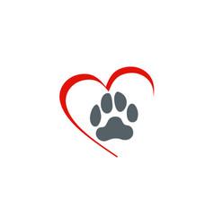 love dog foot step logo vector image vector image