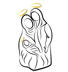 Nativity family silhouette vector