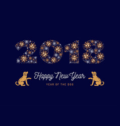 Number 2018 made of snowflakes new year poster vector