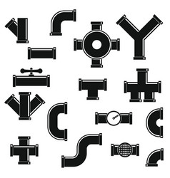 pipeline icons set simple style vector image