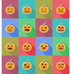 pumpkins for halloween flat icons 18 vector image