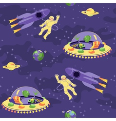 Seamless baby pattern space adventure vector