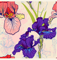 Seamless pattern with decorative iris flower i vector