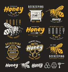 Set of honey labels badges and design elements vector