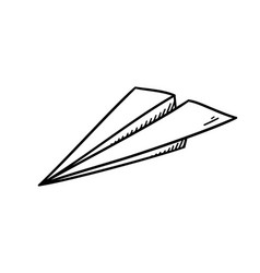 simple paper plane doodle style - isolated vector image