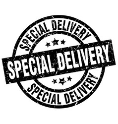 special delivery round grunge black stamp vector image vector image