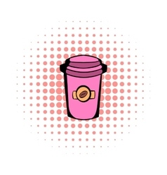 Takeaway coffee cup comics icon vector
