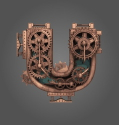 U rusted letter with gears vector