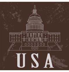 USA landmarks Retro styled image vector image
