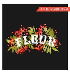 Vintage autumn floral graphic design - for t-shirt vector