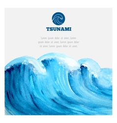 Watercolor ocean tsunami waves vector image
