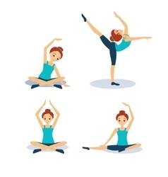 Woman practicing yoga set vector