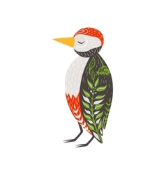 Woodpecker relaxed cartoon wild animal with closed vector