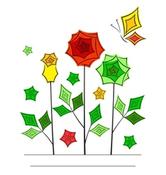 Artistic angular flower line art card vector