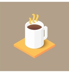 Hot coffee in white cup icon vector