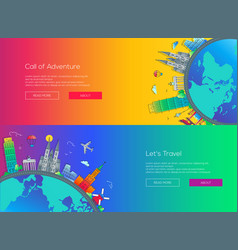 Flat design web page travel banners set vector