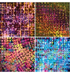 Set of four abstract geometric background vector