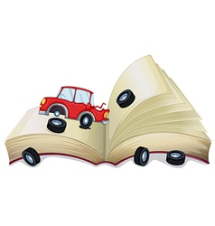 An open storybook with a broken car vector