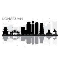 Dongguan city skyline black and white silhouette vector