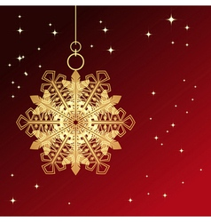 Red card with christmas snowflake vector