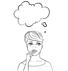 Thinking woman holding pen vertical layout vector