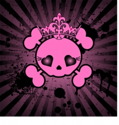 cute skull with crown vector image