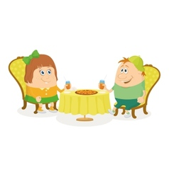 Children near table isolated vector