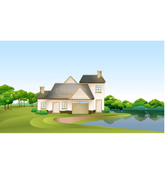 A big house at the forest near the river vector image