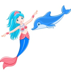 Mermaid and dolphin vector