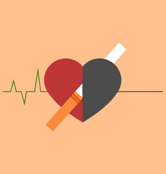 Heart disease and death caused with smoking vector