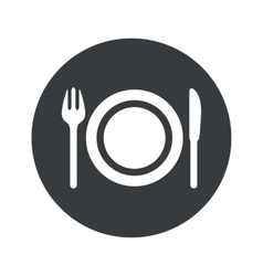 Monochrome round dinner icon vector