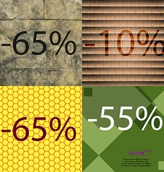 10 65 55 icon set of percent discount on abstract vector