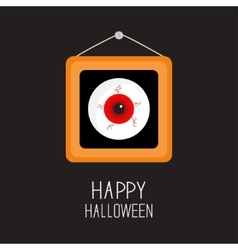 Picture frame hanging on the wall red eyeball with vector