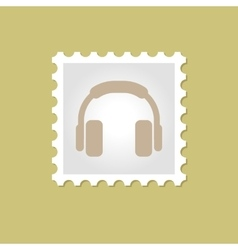 Headphone stamp vector