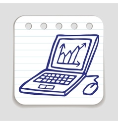 Doodle laptop icon with chart vector