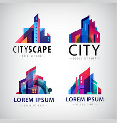 Set of city scape building property logos vector