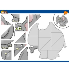 Jigsaw puzzle with elephant vector