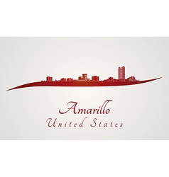 Amarillo skyline in red vector