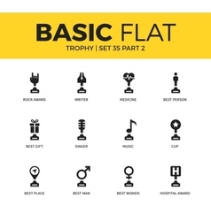 Basic set of trophy icons vector