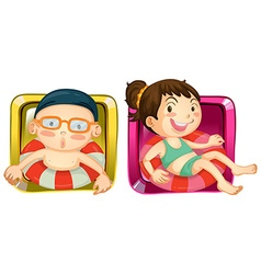 Boy and girl on square label vector