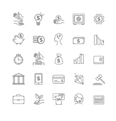Busines money and finance icon set vector