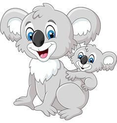 Cartoon baby koala on mother back vector