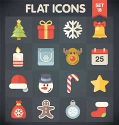 Christmas Universal Flat Icons for Web and Mobile vector image