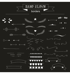 Collection of unique hand drawn borders vector