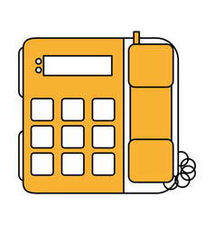Color silhouette image office telephone with wired vector