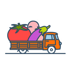 Colorful truck with giant vegetables vector