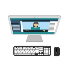 Computer desktop pc with keyboard and mouse vector