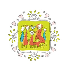 Cute Family Frame vector image vector image