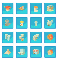 Different architecture icon blue app vector